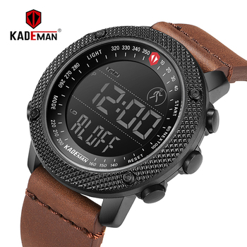 6121G KADEMAN Top Brand Luxury Fashion Style Men Sports Watch Genuine Digital Display Multifunction 3ATM Leather Strap Hot Sale