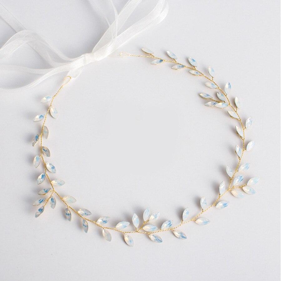 Горячая новинка, Опаловая Свадебная расческа для волос с листьями и кристаллами, простой свадебный головной убор для свадебной вечеринки - Цвет: 6