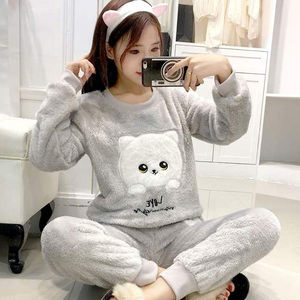 autumn Winter Thick Warm Flannel Pajamas Sets for Women Long Sleeve Coral Velvet Pyjama Girls Cute Cartoon Homewear Pijama Mujer