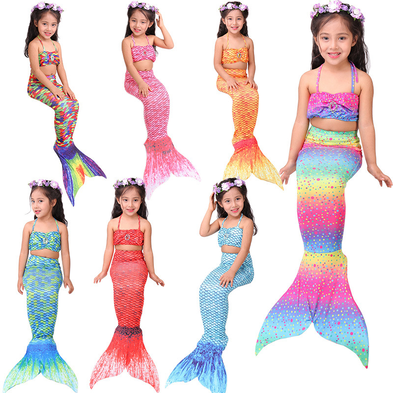 Mermaid Printed Bathing Suit CHILDREN'S Bikini Three-piece Set People Fish Tail Split Swim Bathing Suit Manufacturers Wholesale