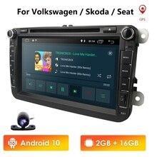 """8 """"アンドロイド 9.0 IPS DSP 車 DVD Gps マルチメディアフォルクスワーゲン Vw パサート B6 ゴルフティグアン車ナビゲーションの Usb Bluetooth"""