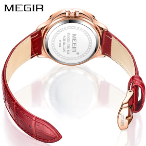 Image 3 - Роскошные женские часы MEGIR, модные кварцевые часы с вращающимся циферблатом, красные кожаные Наручные часы для влюбленных девушек, Relogio Feminino