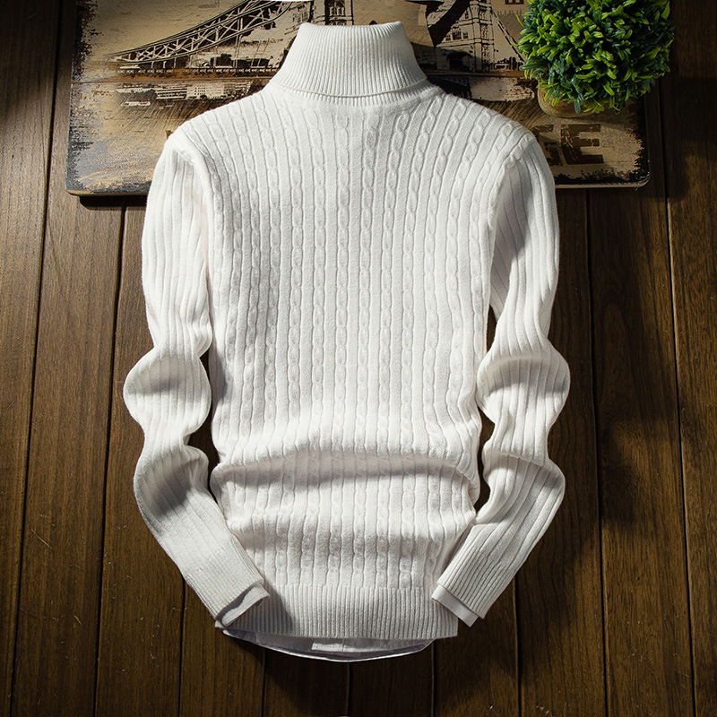 2019 Casual Turtleneck Pullover White Sweaters Men Mens Sweater Autumn Winter Warm Slim Men Sweater Men Sweater Mens Sweaters