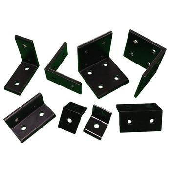 4 unids/lote 2020 de 2040 en forma de L negro soportes de esquina de ángulo de aluminio 3030, 3060, 4040, 4080 para conector de perfil de aluminio