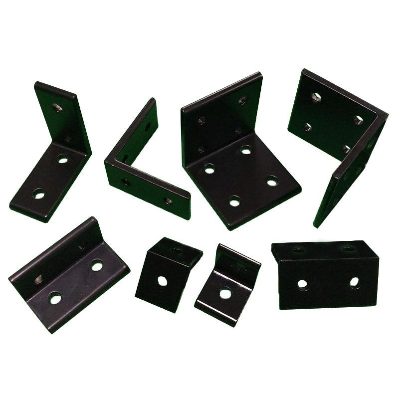 4 шт./лот 2020 2040 L-образные черные угловые кронштейны, угловые алюминиевые 3030 3060 4040 4080 коннекторы для алюминиевого профиля