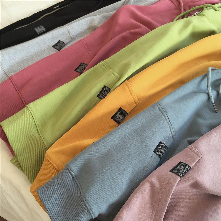 Hde48ab695bd44d90a6879bfee962c859y Harajuku with hat hoodies women zipper kangaroo pocket casual loose solid color sweatshirt female 2020 fashion new female s