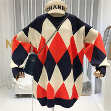 Argyle Long Womens Free Knitted Sweater Oversize Fall Winter 2019 New Items Vintage Warm for Women Clothes