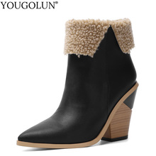 Cowboy Boots For Women Wedges Heel Faux Leather Shoes Autumn Winter A359 Western Sexy Ladies White Brown Black Ankle