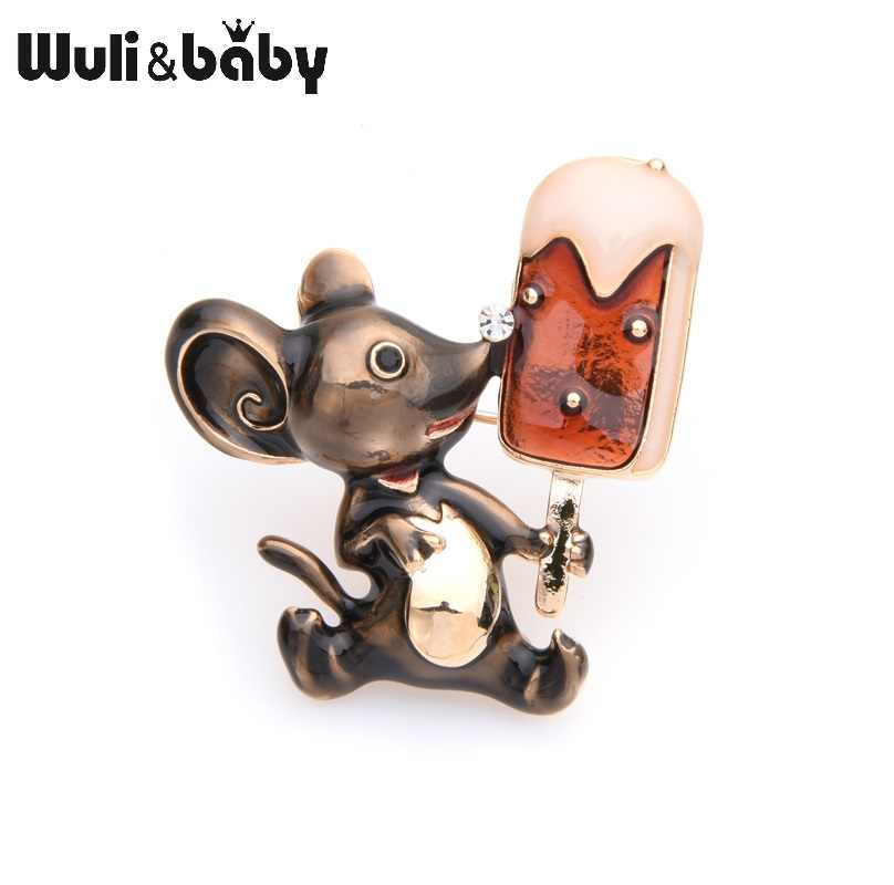 Wuli&baby Lovely Mouse Eating Ice Cream Brooches Women Alloy Enamel Animal Brooch Pins Gifts