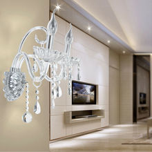 Honhill 2Pcs Crystal Wall Lamp Bedroom Vintage Modern Wall Candlestick Chrome Rope Wall Lamp (Ship From US)