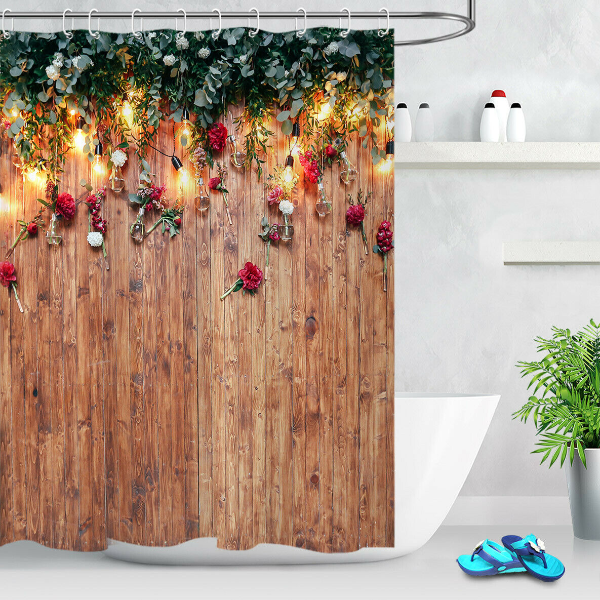 Home Garden Shower Curtains Rustic Board Green Leaves Floral Shower Curtain Set Waterproof Fabric Hooks Magnumcap Com