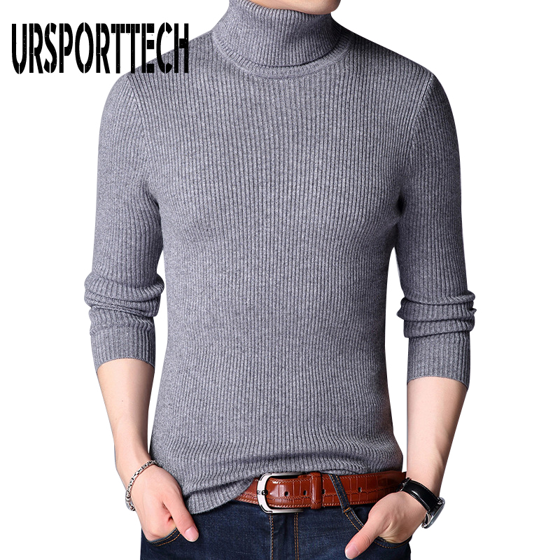 URSPORTTECH Brand Sweater Mens Pullovers Turtleneck Slim Fit Jumpers Knitted Woole Warm Korean Style Casual Sweater Men Clothing