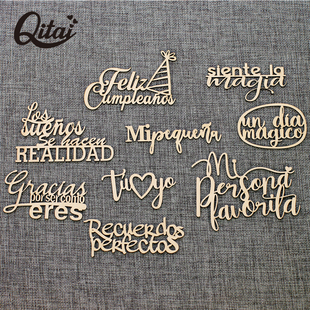 QITAI 9PCS/BOX 9 Model Laser Cut Wooden Spanish Words Love Gift Baby New Born Unpainted Wooden Words Set Decoration Album  WF319