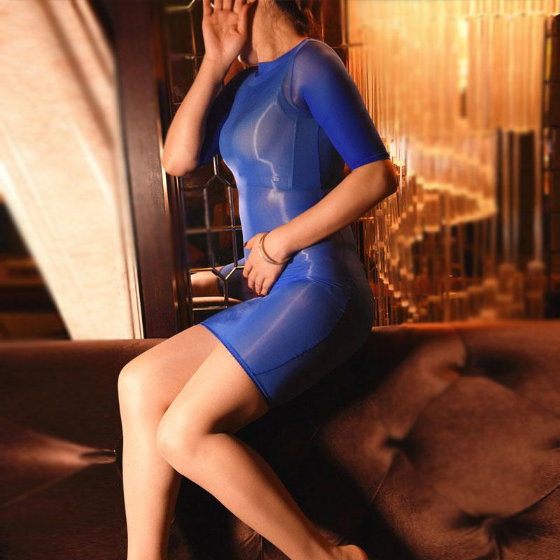 Sexy Women Oil Glossy Sheer Micro Mini Dress Transparent Bodycon Bodystocking Strap Tight Pencil Cute Bandage Dress Stage Wear F