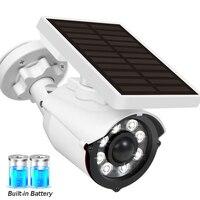 Cámara simulada Solar con batería integrada para exteriores, videocámara de seguridad falsa con luz LED humana, Sensor de movimiento, vigilancia CCTV tipo bala