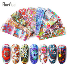 FlorVida 10pcs/set 4*20cm Nail Art Foil Stickers Lace Pattern Transfer Design for Nails Salon Decoration Beauty