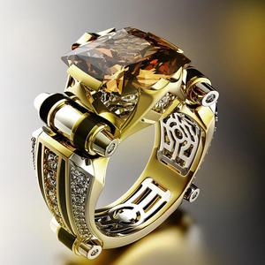 Classic Fashion Gold With Black Stone Men's Ring Steampunk Vintage Engement Lovly Wedding Gift Male Trendy Jewelry Gift