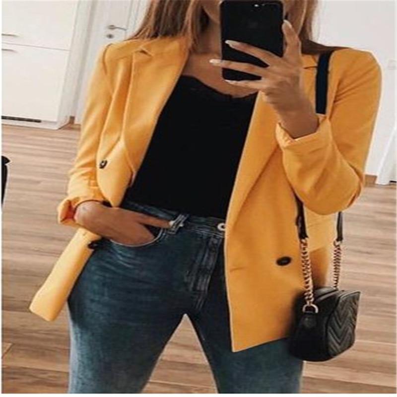 Women Slim Blazer Coat Office Lady Top Long Sleeve V Neck Blazer Feminino Eleagnt One Button Lady Blazers Autumn Winter Clothes