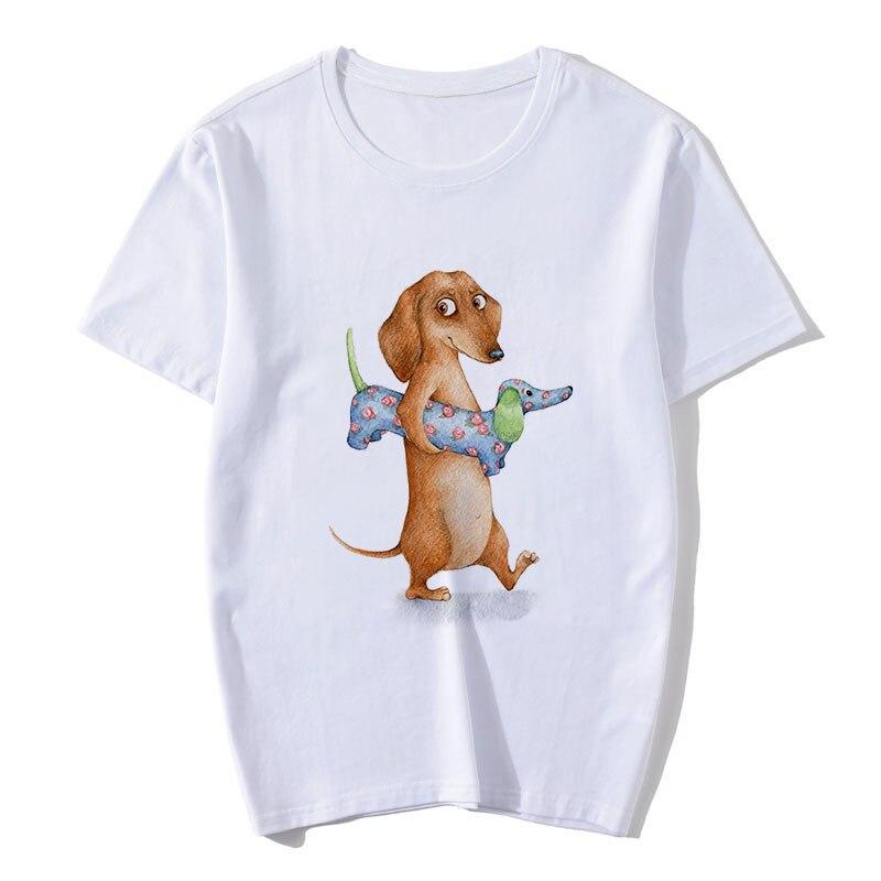 ZOGANKIN Dachshund Funny T Shirt Women Harajuku Cute Dog and Cat Summer New Fashion T-shirt Girls Cotton Tshirt Tops