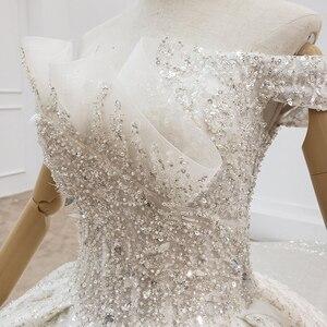 Image 5 - HTL1415 weding vestito fuori dalla spalla più il formato abito da sposa top con perline e perle abito da sposa tutto con seqrobe mariage fille