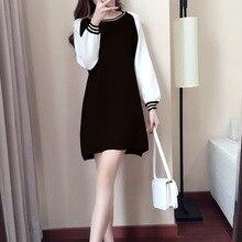 Elegant Patchwork Dress Women Fashion Sweet Female Casual long sleeve O neck mini dresses vestidos