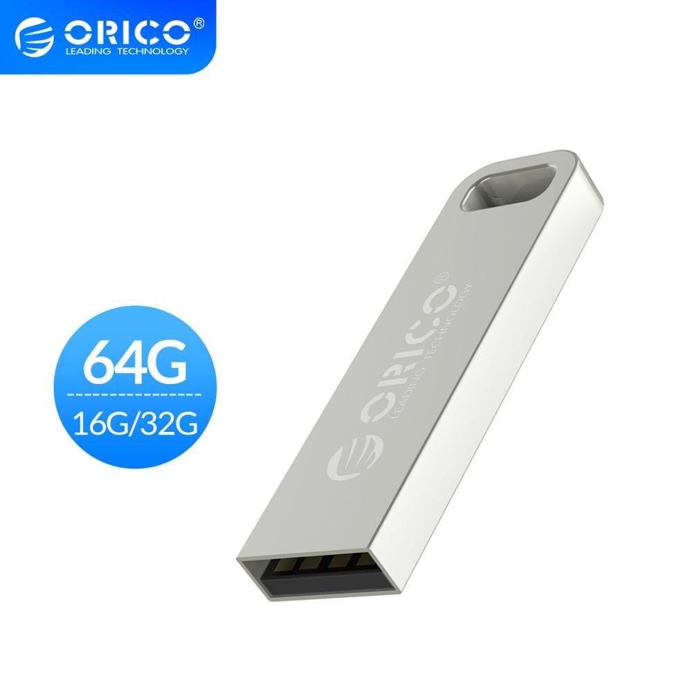 ORICO Metal USB2.0 USB Flash Drive 64GB 32GB 16GB Flash Memory Stick Pen Drive USB Stick Waterproof Metal Silver Memoria Cel Usb