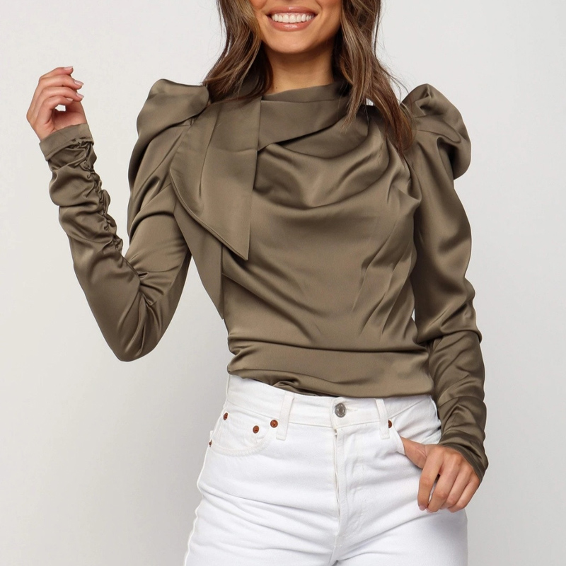 Meihuida 2019 New Autumn Women's Long Sleeve Clothing Blouses Solid Stack Sleeve Shirts Female Camisas Blusa Mujer