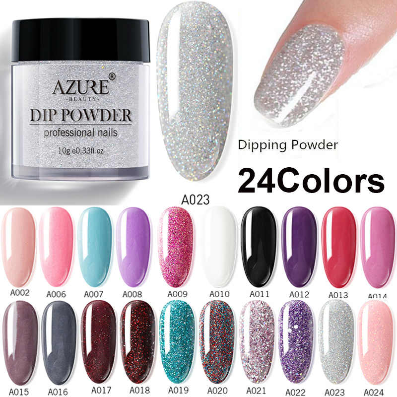 Azure Beauty Dipping Powder Nail Art Gradient Color Dip Powder 24 Colors For Choose Shiny Nail Powder Decorations