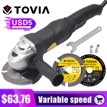 TOVIA 125mm Angle Grinder 950W Grinding Machine Cut Wood Metal Stone M14 Variable Speed 3000-10500RPM 220V