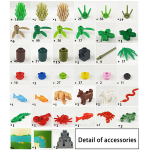 Image 5 - 32*32Dots Classic Base Plates Tropical Rainy Climate Green Jungle Building Blocks Rainforest Animal Grass Tree MOC Kids Toy Gift