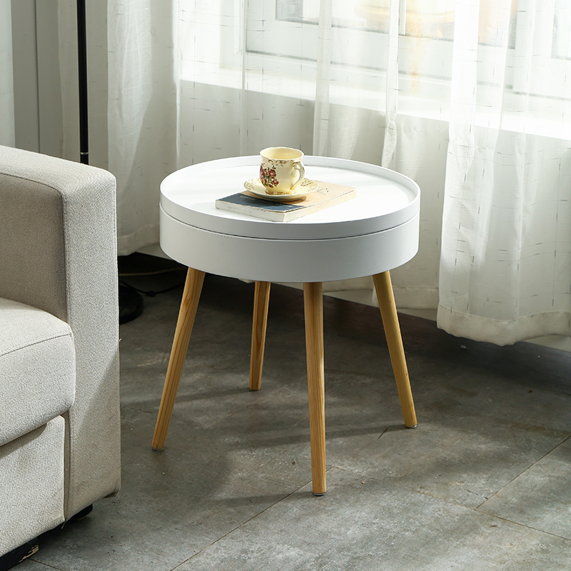 Nordic Creative Solid Wood Coffee Table Simple Side Sofa Side Table Corner Several Bed Round Table