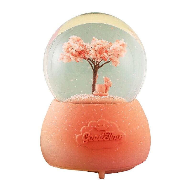 Quatre saisons abstraite arbre Sculpture boule de cristal Miniature modèle boîte à musique résine ornements décoration maison artisanat bureau décor