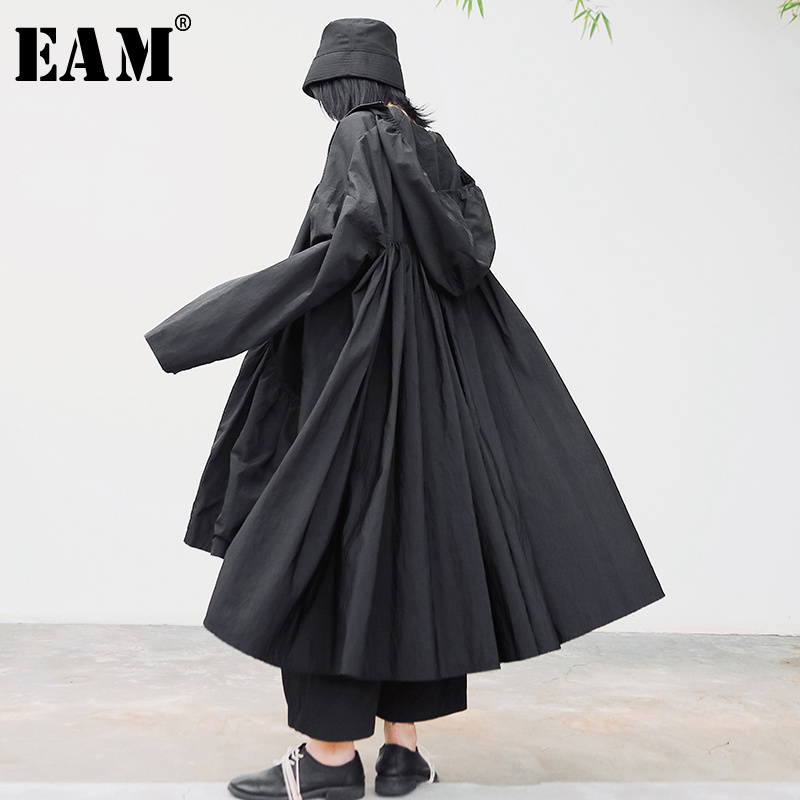 [EAM] Loose Fit Black Pleated Split JointBig Size Jacket New Hooded Long Sleeve Women Coat Fashion Tide Spring 2020 1S342