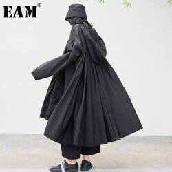 [EAM] Lose Fit Schwarz Gefaltete Split JointBig Größe Jacke Neue Mit Kapuze Lange Hülse Frauen Mantel Mode Flut Frühjahr 2020 1S342