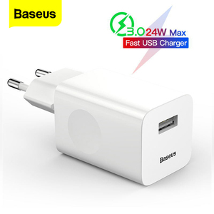 Baseus 24W Quick Charge 3.0 USB Charger QC3.0 Wall Mobile Phone Charger for iPhone X Xiaomi Mi 9 Tablet iPad EU QC Fast Charging