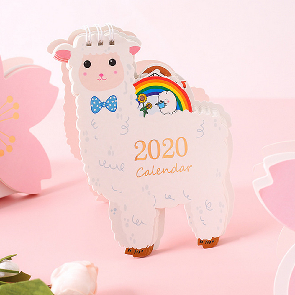 2020 Calendar Mini Cute Cartoon Stand Up Desktop Monthly Calendar Home Office Desktop Supplies Decorations