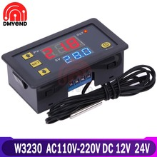W3230 termostato 220 v 12 v 24 v ponta de prova controle temperatura digital display led termostato com instrumento controle refrigeração calor