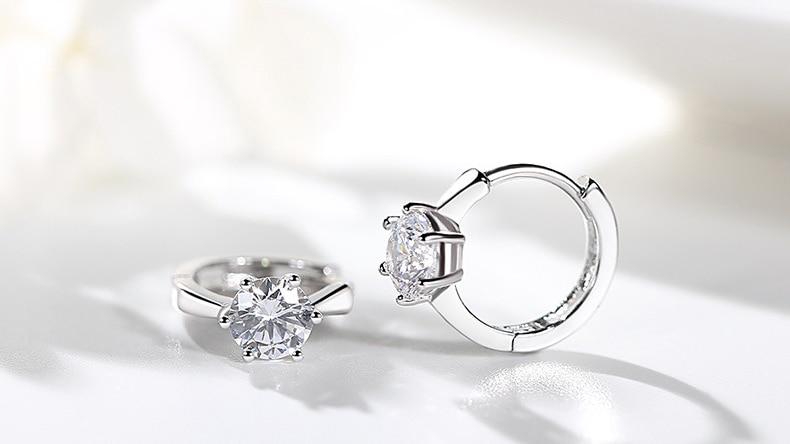 ZHOUYANG Stud Earrings For Women Classic Six Claw Clear AAA+ Shiny Zircon Rose Gold Color Fashion Jewelry For Girls KAE094 3