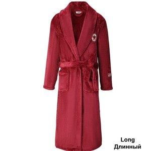Image 5 - Yeşil kadın erkek mercan Kimono bornoz kıyafeti severler çift flanel kıyafeti kış Ultra kalın sıcak elbise pijama