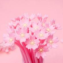 Kawaii novel pink cherry soft gel neutral black pen Creative student blue writing gel pen Office School Supplies Pen цена