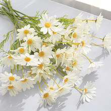 5 head artificial flowers white daisy non-woven long branch orange purple garden wedding bride home decoration fake flowers