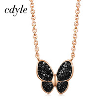Cdyle Luxury Jewelry 40cm Gold Choker Chains Top Quality Black Crystal Butterfly Pendant Necklace for Women's Fashion 2019(China)
