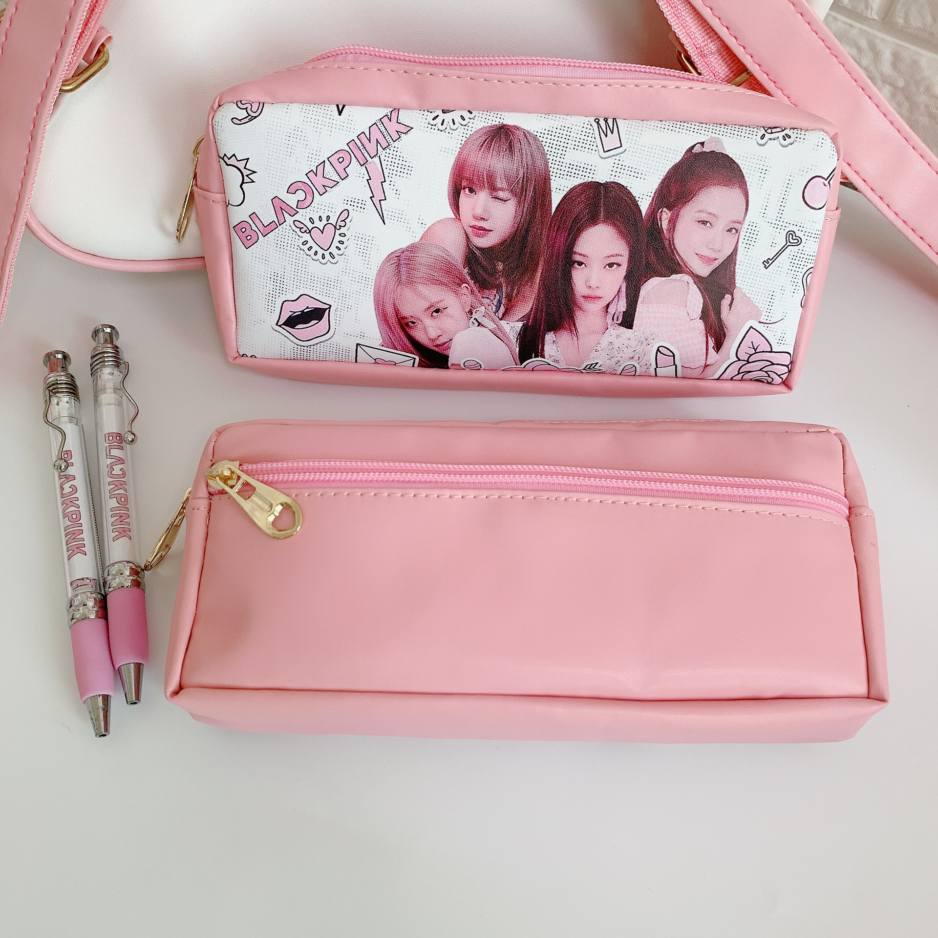 Creative Kpop Blackpink Pencil Case Bag Pu Pen Bag Stationery Box Large Capacity Students Stationery Bags Blackpink Pencilcase