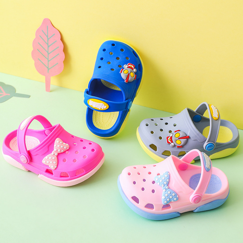 Summer Fashion Children's Cartoon Cave Shoes For Boys Girls Cute Bow Slippers Kids Slippers Beach Flip Flops Baby 0-6 Years
