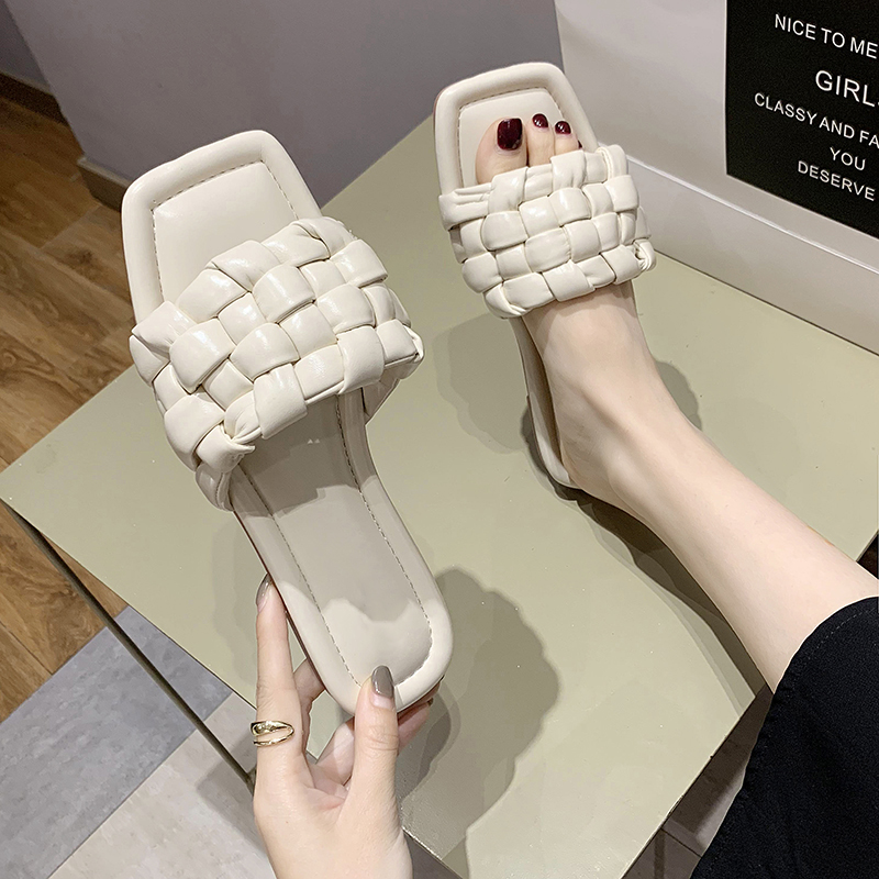 Rimocy High Quality Leather Weave Slippers Women Square Toe Women Summer Sandals Flat Casual Shoes Woman Comfort Beach Slides