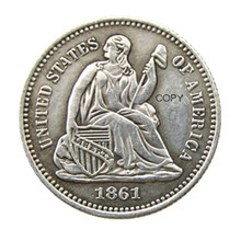 USA 1861 Liberty Seated Half Dime Legend Obverse Copy Coins