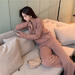 Image 2 - 2019 Autumn Casual Sweaters Tracksuit Womens Knitted Cashmere Two Piece Sets Women Hooded Sweatshirts Sporting Suit Female