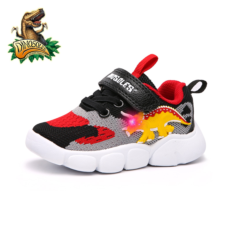 DINOSKULLS Toddler Baby LED Light Shoes 1 Years Boys Trainers Children's Tennis Dinosaur Glowing Sneakers Autumn Kids Run Shoes