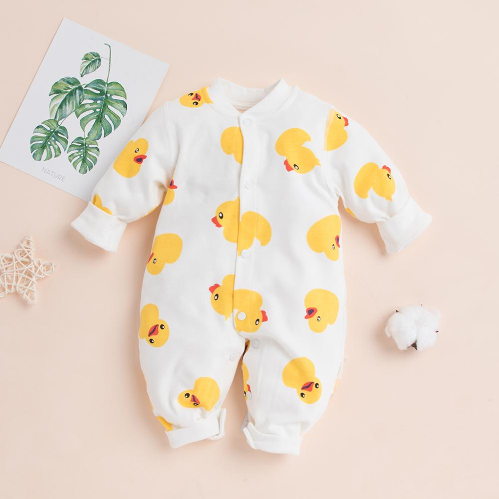 PatPat 2020 New Spring And Autumn Baby Yellow Duck Allover Long-sleeve One Pieces Jumpsuit Soft