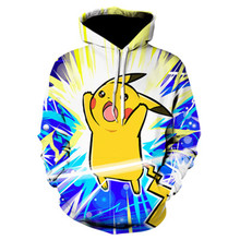 цена на Men's Casual 3D Print Hoodie Anime Pikachu Series Digital Print Hoodie Men's Hip Hop Fashion Hoodie New Anime Hoodie